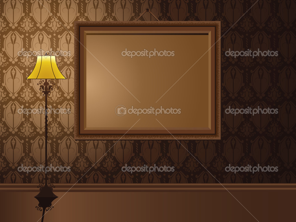 Vintage Frame hanging on wall with antique lamp. Editable Vector Illustration — Stock Vector #3509400