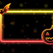 Halloween Lights Frame with Bat and Pumpkin - Stockvektor