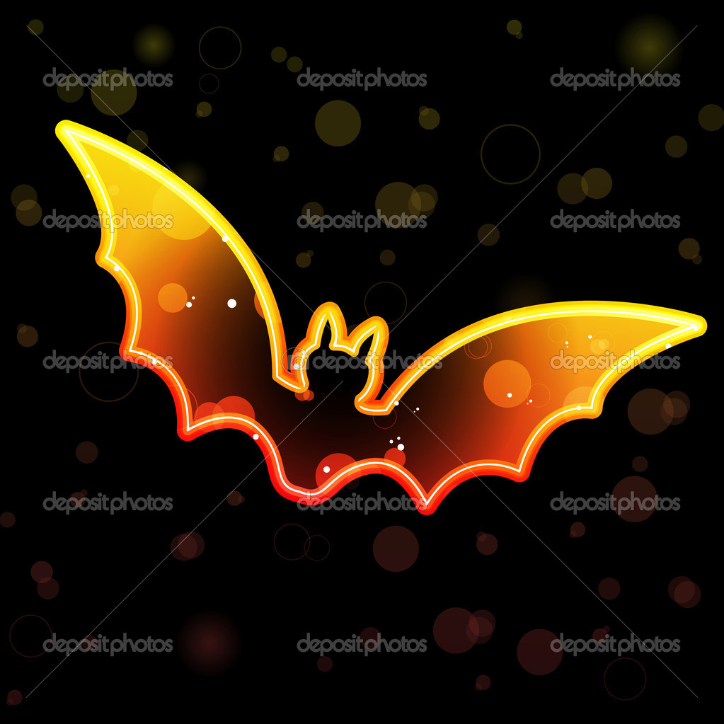 Vector - Orange Transparent Bat for Halloween  Stock Vector #3577068