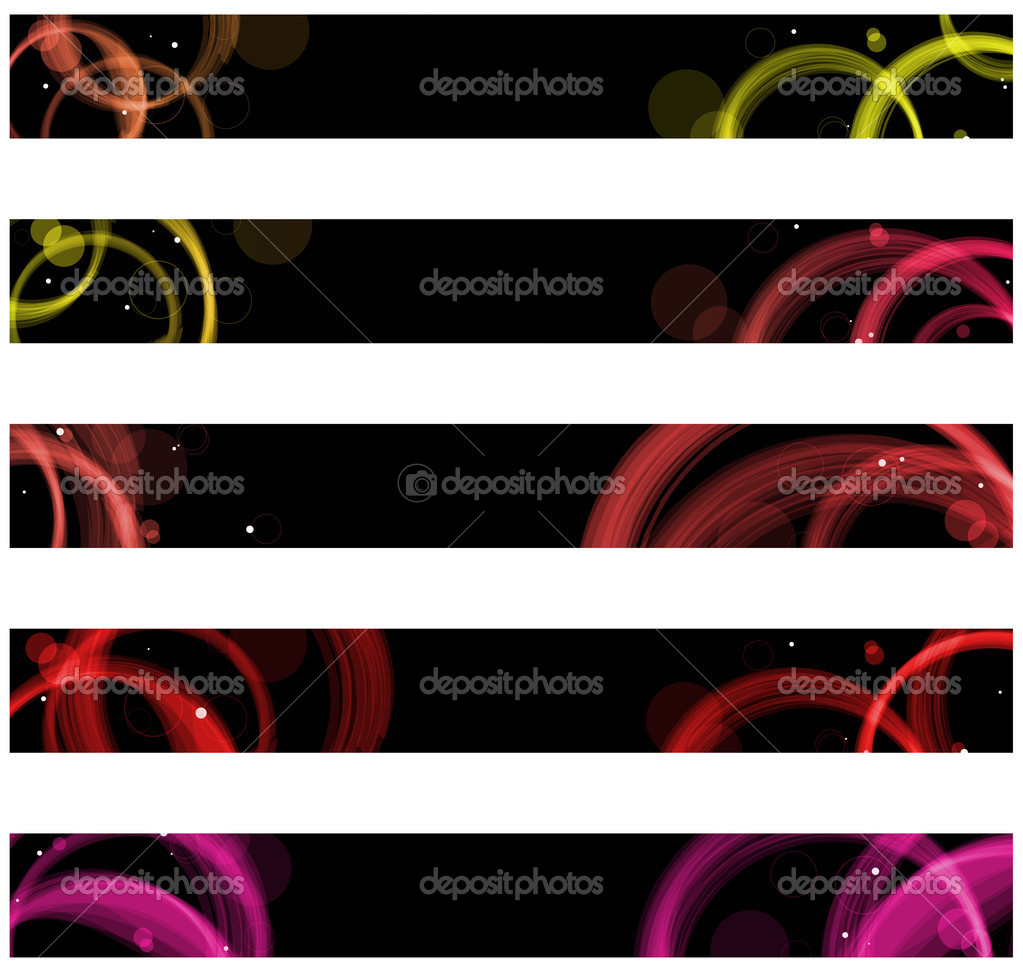 Vector - Abstract colorful circles web banners. Size 728x90 px  Stock Vector #3577074
