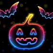 Halloween Neon Background with Pumpkin and Bats — Stock Vector