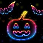 Halloween Neon Background with Pumpkin and Bats — Stock Vector #3621239