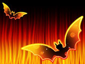 Halloween Background with Bats and Flames — Stock Vector