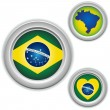 Brazil Buttons with heart, map and flag — Stock Vector