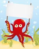 Vector. Octopus holding blank sign — Stock Vector
