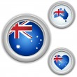 Australia Buttons with heart, map and flag — Stock Vector