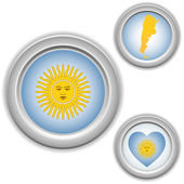 Argentina Buttons with heart, map and flag — Stock Vector