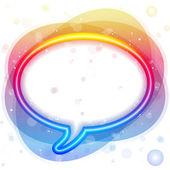 Rainbow Neon Lights Speech Bubble — Stock Vector
