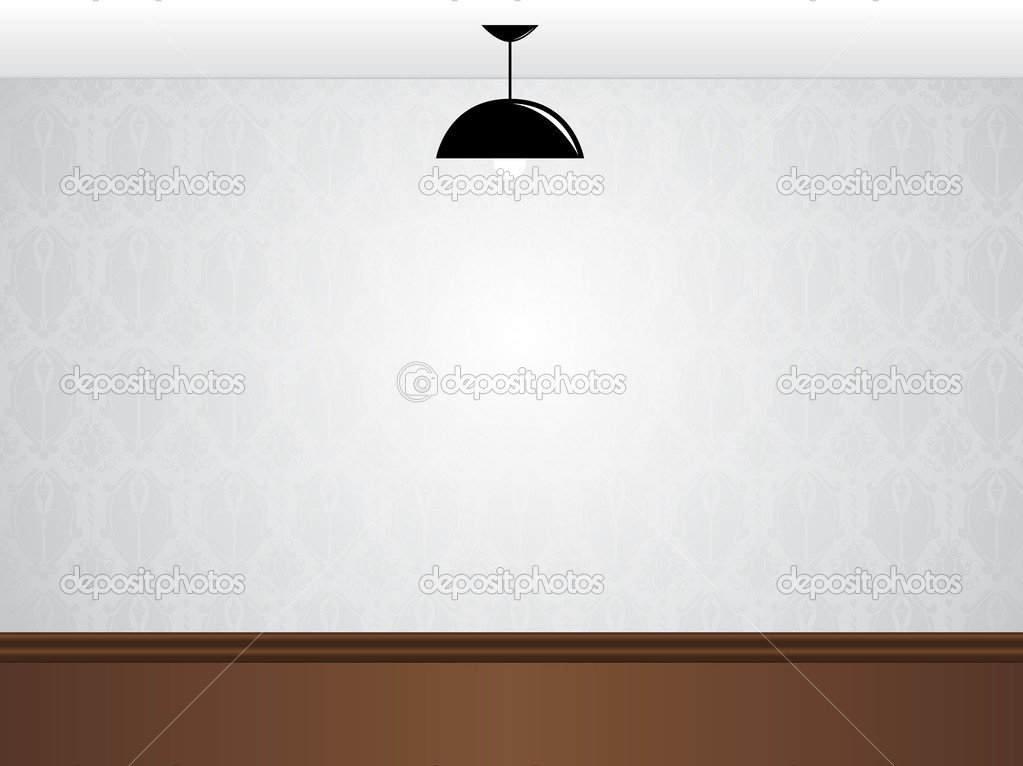 Vector - Empty white room wall with black lamp and wooden floor  — Stock Vector #3774841