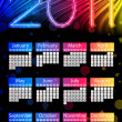 Colorful 2011 Calendar on Black Background. Rainbow Colors — Stock Vector #3918169
