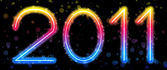 Letras de arco iris colorido abstractos 2011 sobre fondo negro — Vector de stock