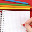 Pencil and agenda — Stock Photo