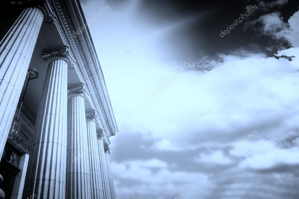 Picture of large greek freestone columns .  Stock Photo #2709995