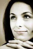 Piękna kobieta, wielkie oczy. — Zdjęcie stockowe
