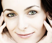 Woman with green eyes — Stock Photo