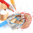 Pencils and sharpener - Stock Photo