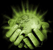 Globe in a girl's hands — Photo