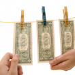 Dollars on the wire - Stock Photo