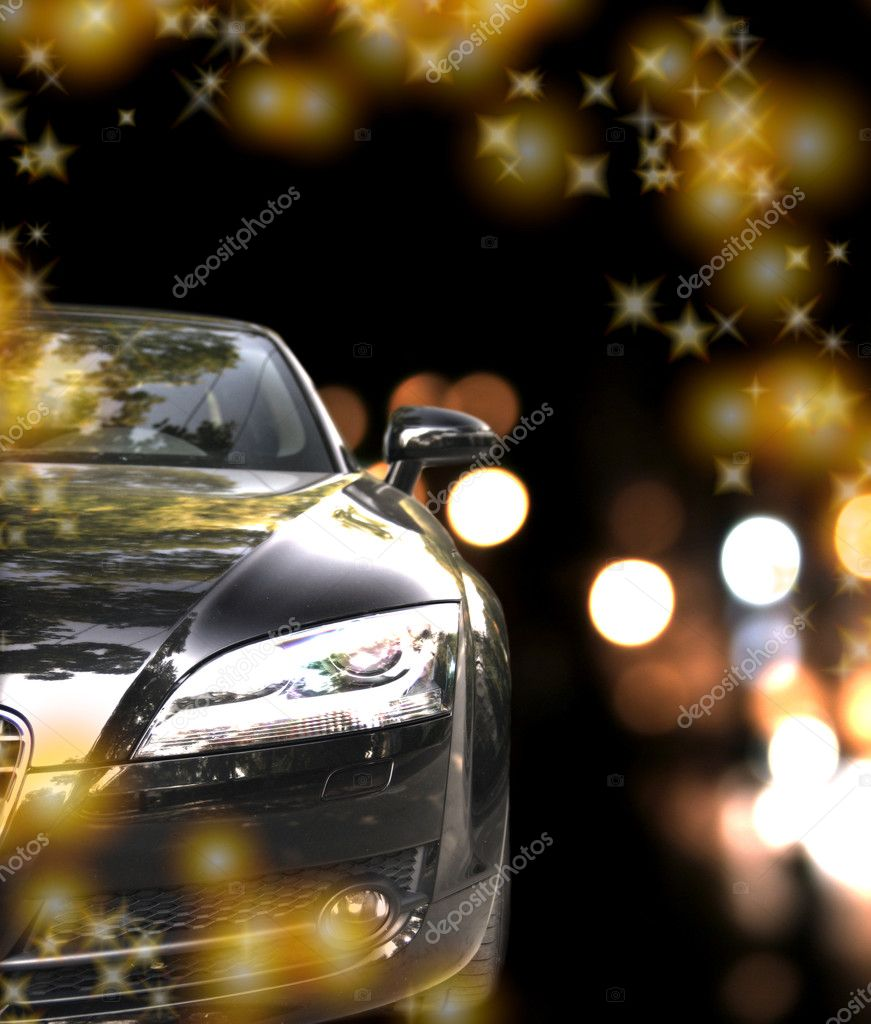 Black car in traffic at night — Stock Photo #2880787