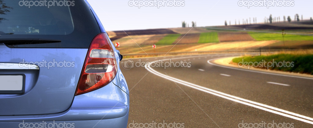 Blue car on the road — Stock Photo #2881322