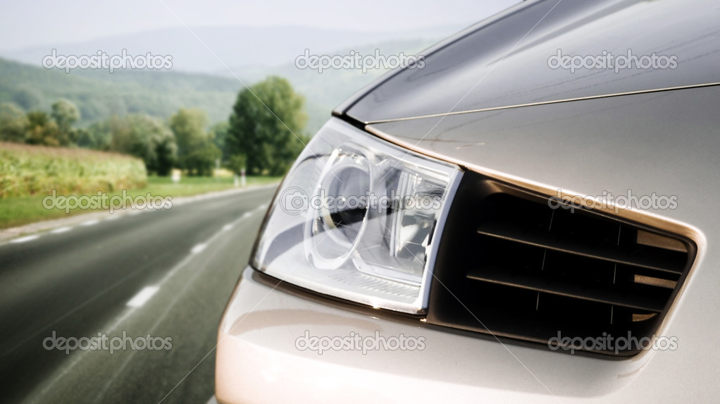 Silver car on the road  Stock Photo #3509848