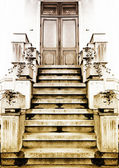 Old entry in a house. Sepia — Stock Photo