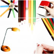 Colorful office collage. — Stock Photo