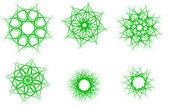 Green snowflakes — Stock Vector