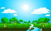 Soliga landskap — Stockvektor