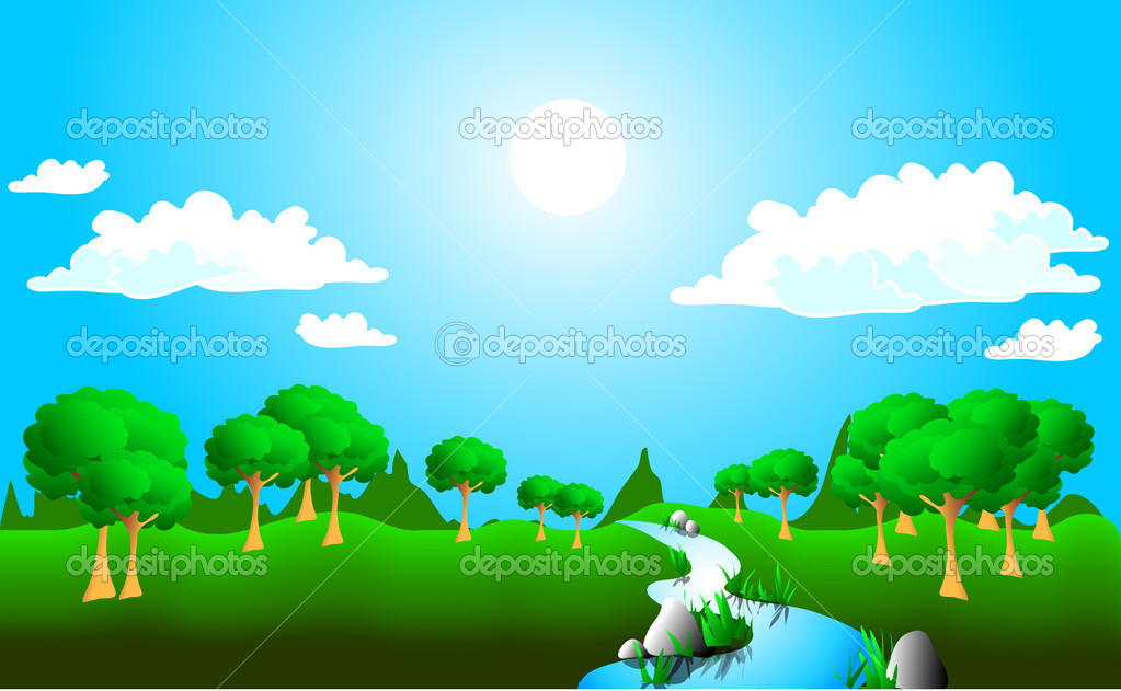Illustration of bright summer landscape  Stock Vector #3333919
