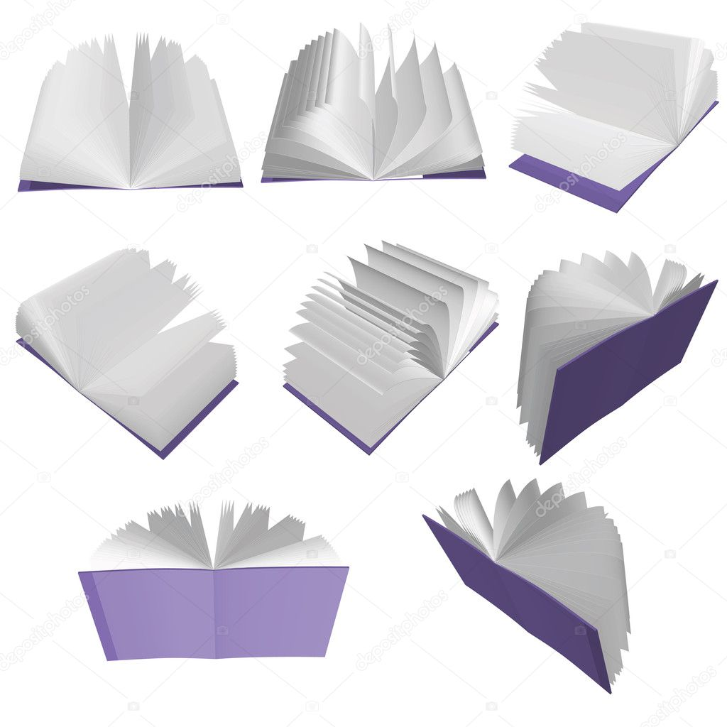 Purple books isolated on white background — Stock Vector #3566897