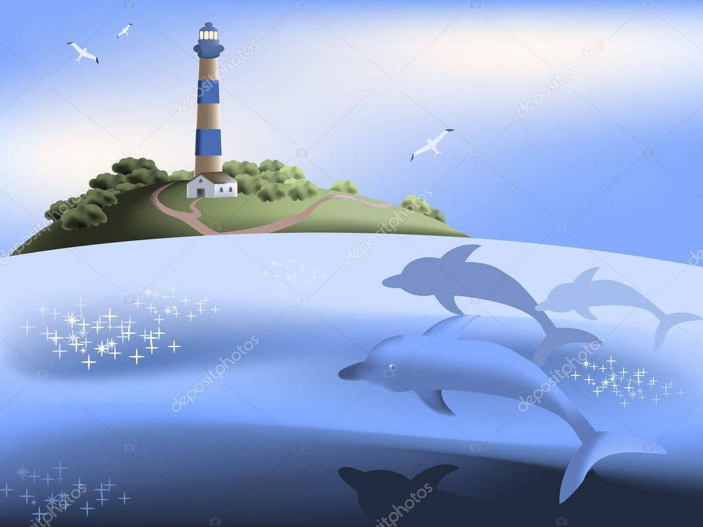 Sea scene with dolphins and a lighthouse on the island — Stock Vector #3767875