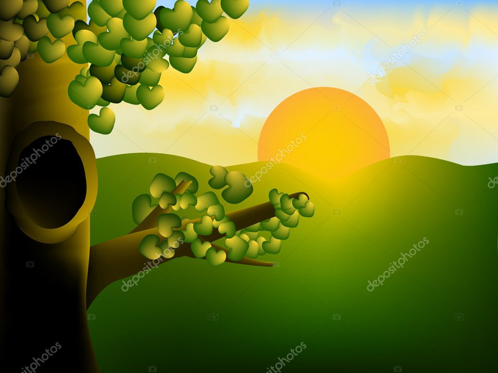 Morning scene with sunrise and a tree — Stock Vector #3894811