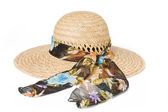 Summer straw hat with a bow — Stock Photo