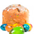 Easter cake and colored eggs — Stock Photo