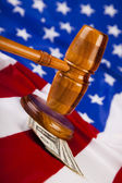 Wooden gavel barrister, American Justice — Stock Photo