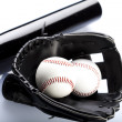 Leather glove with baseball - Stock Photo
