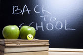 Inscription on a school chalkboard, back to school — Stock Photo
