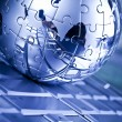Puzzle earth planet, Metal globe — Stock Photo