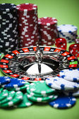 Roulette and Chips in Casino — Stock Photo
