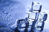 Blue and shiny ice cubes — Stock Photo