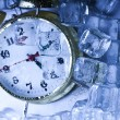 Classical Clock among ice cubes — Foto de Stock