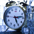 Classical Clock among ice cubes — Stok fotoğraf