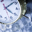 Time, ice and clock — Stock fotografie
