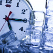 Time, ice and clock — Foto de Stock