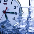 Time, ice and clock — Stok fotoğraf