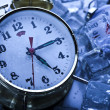 Time, ice and clock — Stock Photo