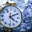 Stock Photo: Clock and Ice cubes