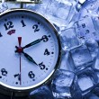 Stock Photo: Ice cubes & Alarm clock