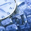 Clock and Ice cubes — Stock fotografie